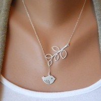 Antique Silver Bird Branches Necklace