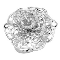 .925 Sterling Silver Rhodium Plated Pave Set Blooming Flower Ring