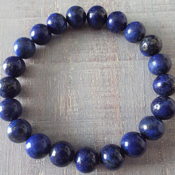 Lapis Lazuli Bracelet - Mens Beaded Bracelet - Chakra Bracelet - Yoga Jewelry - Blue Stone Bracelet - Lapis Jewelry - Gemstone Stretch