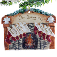 Family of 9 stocking ornament - personalized stockings hung on the fireplace mantel Christmas ornament