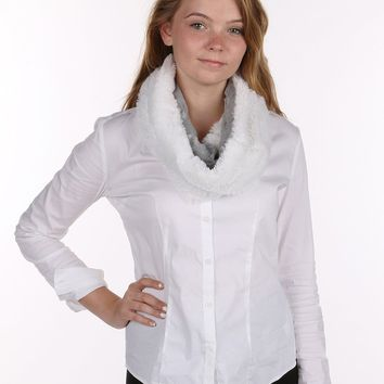 White Soft Fur Laced Infinity Neckwarmer Scarf