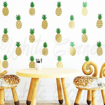 Pineapple Wall Decals - 2-Color Pineapple Decals, Gold Decor, Pineapple Decal, Wall Stickers, Modern Wall Decals, Pineapple Vinyl Decal ga17