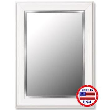 Hitchcock Butterfield Glossy White Grande And Stainless Liner Framed Wall Mirror