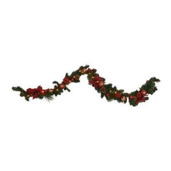 Pre-Lit Classic Poinsettia Garland, 6 ft. | Kirklands