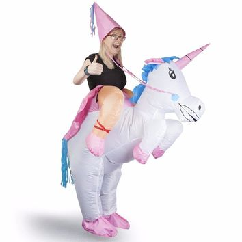 Inflatable Unicorn Costumes for Adult Ride on Cosplay Suits Animal Fancy Dress Halloween Carnival Party Airblown Costume Outfits