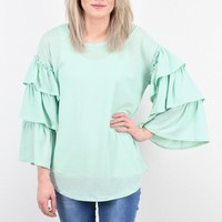 All the Frills Layered Ruffle Sleeve Basic {Sage}