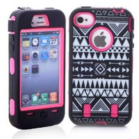 MagicSky Plastic Silicone Armored Hybrid Black Tribal Pattern Case for Apple iPhone 4 4S 4G - 1 Pack - Retail Packaging - Hot Pink