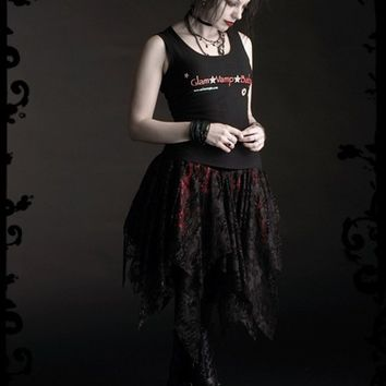 Ancolie Faerie Skirt - Custom Gothic Couture - Asymmetrical Layers of Lace over Satin
