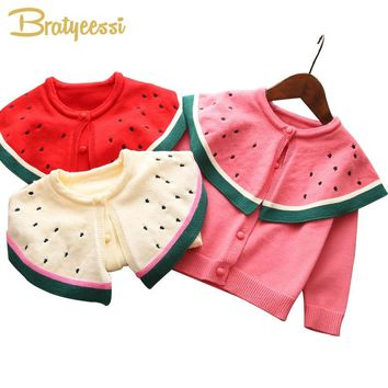 Watermelon Baby Sweater for Girls Solid Autumn Spring Baby Cardigan Coat Knit Baby Girl Winter Clothes 4 Colors 1PC