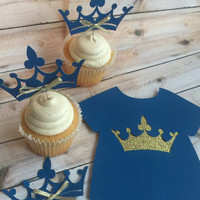 PRINCE  CROWN cupcake toppers and onsie cake topper. Blue and gold prince party decor for cupcake and toppers. Crowns~onsies toppers~glitter