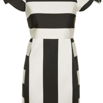 PETITE Satin Stripe Bardot Dress - Monochrome