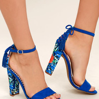 Betsey Johnson Rallo Blue Multi Print Ankle Strap Heels