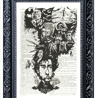 TIM BURTON wall decor I Love valentine Tim Burton ART wall hanging on an vintage dictionary art print housewares for your wall (577)