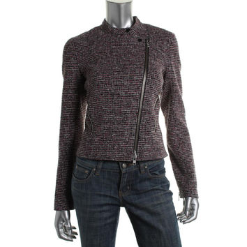 Theory Womens Kinde Tweed Cropped Casual Blazer