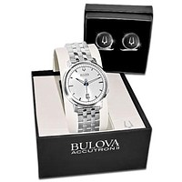 Bulova Mens Mid-Size Accutron II Telluride Watch and Cufflink Box Set