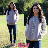 Just In Time Lace Sleeve Mocha Sweater