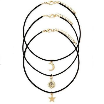 CREYON Day First 3 Pcs Sets Star Moon Sun Chokers Necklaces Pendants necklace