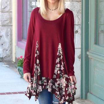 Rose Print Splice + Ruffle Tunic {Burgundy}