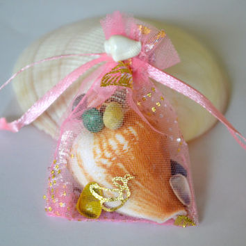 PInk Organza Bag of Seashells For Wedding Favors, Bridesmaids  Gifts, Seashell Party Favor