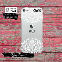 White Mandala Top and Bottom Line Art Floral Cute Case for Clear Transparent Rubber iPod Touch 5th Generation Case 5th Gen Cover
