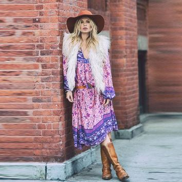 2017 new hot bohemian style long dress printing colorful maxi dresses puff sleeve print holiday boho dress tassel ethnic dress