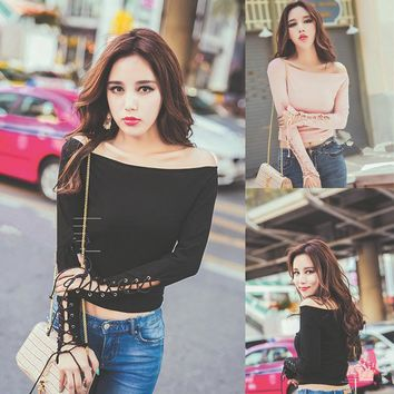 Long Sleeve Tops Sexy T-shirts [11852013903]