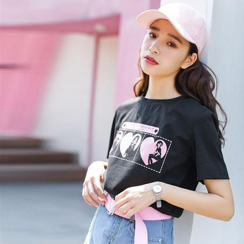 Sweet Anime Beauty Girl Printed Women's Top Tshirt Summer Harajuku Kawaii Fresh Wild Schoolgirl T-shirt Tops K'761