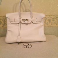 Hermes Birkin 35 Swift White Palladium PHW 2008 (L Square)