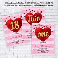 Love hearts invitaiton, Valentine  girl 1st birthday, one, 2nd, 3rd , 4th, 5th birthday, any age, 16th, 18th 50th 60th 70th  - card 1202