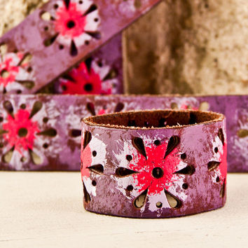 Valentine's Day Gift Cuffs Floral Bracelets Flower Wristbands Leather Jewelry January Finds Happy New Year Winter Time Janurary On Sale