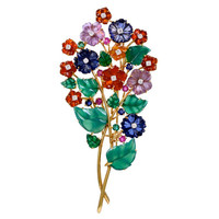 Multicolor Gem and Diamond Flower Bouquet Gold Brooch
