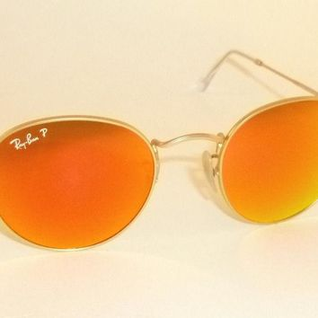 Authentic Ray-Ban Round Sunglasses RB3447 112/4D Orange Polarized Mirrored 50mm