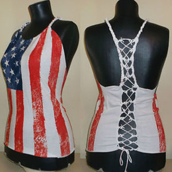 DIY American Flag T-shirt Halter Crop Top Cut up Fringe Braided Corset Large