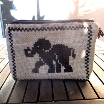 Elephant burlap pouch bag, cross stitch embroidery,accessories pouch, handmade pouch, travel accessory