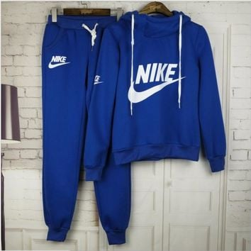 Nike Casual Print Hoodie Top Sweater Pants Trousers Set Two-piece Sportswear