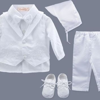 Gorgeous, Boy's Baptism Or Christening Outfit 6 Pcs. Sizes 3, 6, And 9 Months