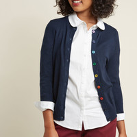 Charter School Crew Neck Cardigan in Rainbow Buttons