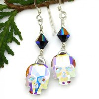 Rainbow Skull Earrings, Halloween Day of the Dead Handmade Swarovski Crystal Jewelry for Women