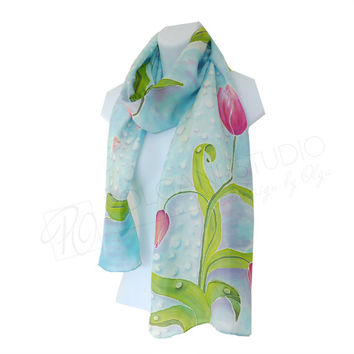 Silk Scarf Spring Red Tulips Hand Painted in Soft Blue. Long Scarf. Wearable Art. Spring Scarf. READY TO SHIP.