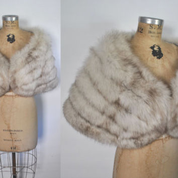 LARGE Fox Fur Stole / 5 tiered Cape / bridal wedding
