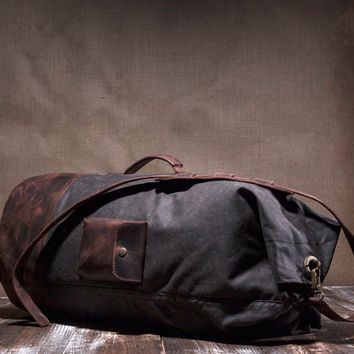 Duffle bag - waxed canvas weekender - leather duffle bag - weekend bag - leather pocket - men duffle bag