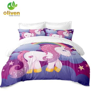 Princess Unicorn Print Bedding Set Girls Cartoon Decor Duvet Cover Set Pillowcase Soft Bedclothes Purple Dreamlike Bed Cover D45