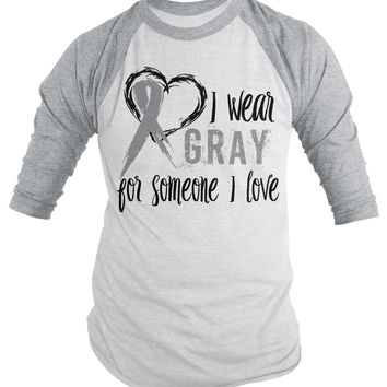 Shirts By Sarah Men's Wear Gray Someone I Love 3/4 Sleeve Brain Cancer Asthma Diabetes Awareness Ribbon