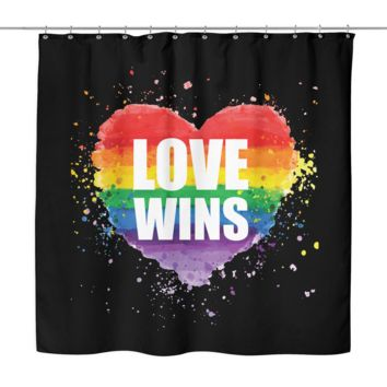 LGBT Gay Pride Shower Curtain by Living Gay | Rainbow Heart Love Wins, 70 x 70, 100% Woven Polyester
