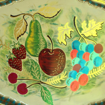 Metal Tray Baret Ware painted tray cocktail tray fruit still life gold metallic hostess housewarming vintage 60s Mad Men decor Anthro style