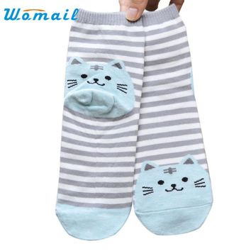 Socks Hot 2017 SIF 1 Pair 3D Animals Style Striped Fashion Cartoon Socks Women Cat Footprints Cute Cotton Socks Foot Meias Soks