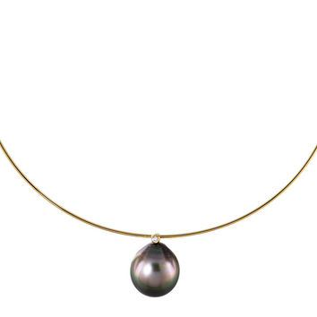 Tahitian Black Pearl, Diamond and Gold Collar/Necklace