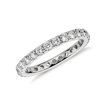 Ethically Mined 14K White Gold French Pave Round Cut Diamond Full Eternity Wedding Band
