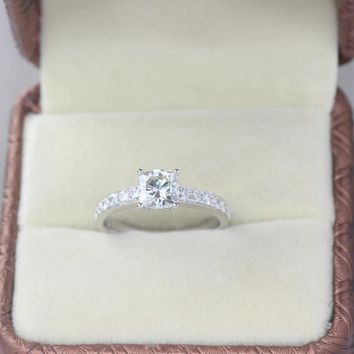 1.46 Carat Cushion Cut Engagement Diamond Ring Solid 14k White Gold Fine Jewelry