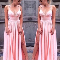 Straps Side Slit Ruched Chiffon Prom Dress